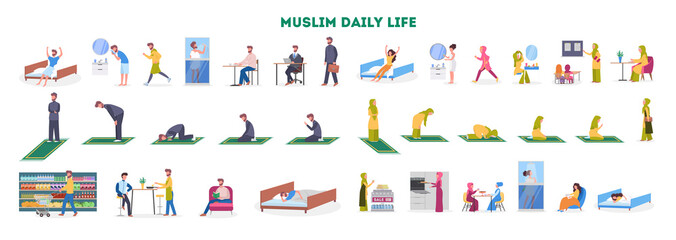 Daily routine of a muslim woman and man set.