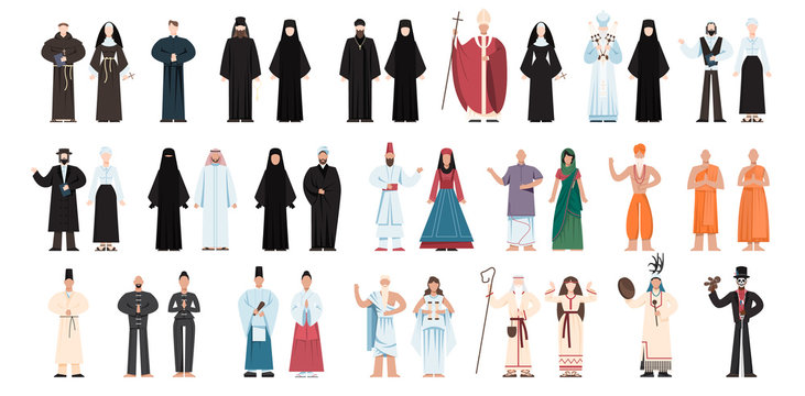 Set of religion people wearing specific uniform. religious figure