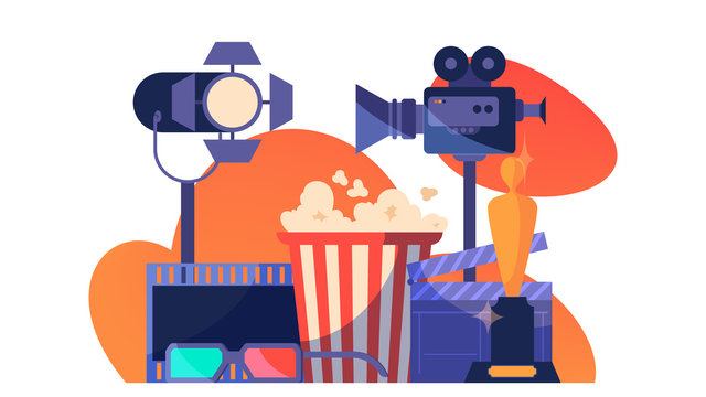 Video or movie production concept. Idea of shooting film,