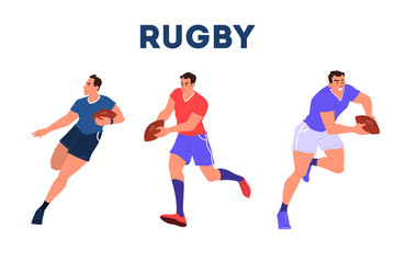 Rugby player running with a ball. Rugby player training.