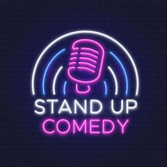 Foto op Canvas Hoogte schaal Comedy show neon sign. Retro microphone line design. Standup icon on brick wall vector illustration. Neon show stand up, emblem signboard
