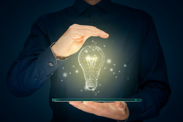 Turn on creativity, idea and intelligence concepts