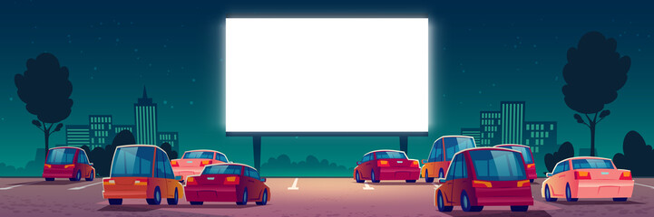 Foto auf AluDibond Cartoon cars Outdoor cinema, drive-in movie theater with cars on open air parking. Vector cartoon summer night city with glowing blank screen and automobiles. Urban entertainment, film festival
