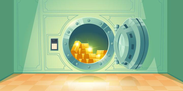 Bank vault with open safe door. Vector cartoon illustration of room with round steel door and dial lock for money storage. Bank safe with gold ingots inside