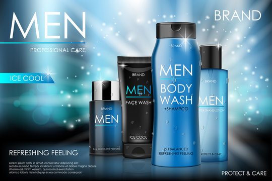 Body care products for men. Body and face wash, shampoo, perfume ads with soft bokeh in 3d illustration on glittering background