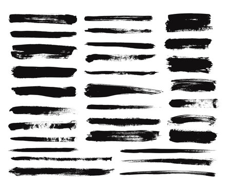 Ink brush stroke. Dry paint long smear, black stains. Isolated textured straight lines or art grunge design elements. Vector drawing set. Paint brush, grunge ink stroke illustration