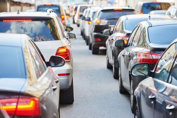 traffic jam in a city street road Fotomurales