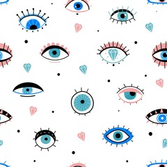 Eye doodles seamless pattern. Hand drawn various eyes talismans, different shapes mystic elements, trendy print fabric design vector texture