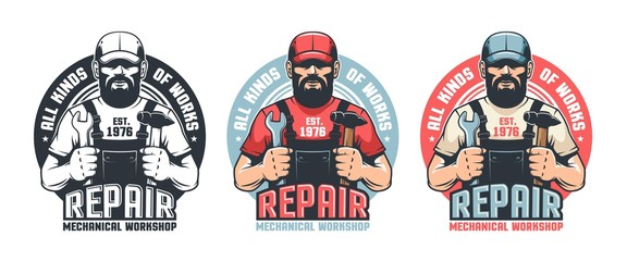 Repair man worker vintage logo. Mechanic workshop retro emblem. DIY man in old school badge. Vector illustration.