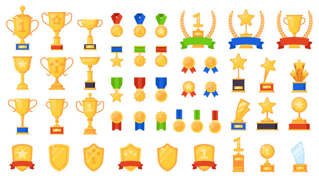 Awards flat. Different sport trophy, golden cups medals and laurel wreaths and prizes, winners star symbols design vector icons