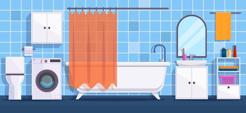 Bathroom. Modern bathroom interior decor. Bath, mirror and wash basin, tub and hygiene accessories, toilet bowl flat vector design