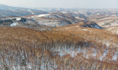 Early winter view of the Mountains and ridge lines from the main road on the way to Niseko from Otaru