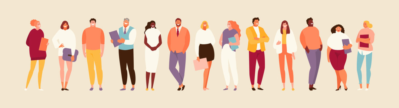 Group standing office of people of different nationalities and ages. Multiethnic company vector illustration