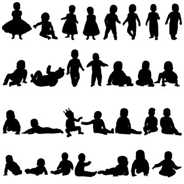 vector, white background, silhouette baby set