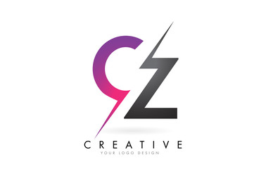 Fototapeta CZ C Z Letter Logo with Color block Design and Creative Cut. obraz