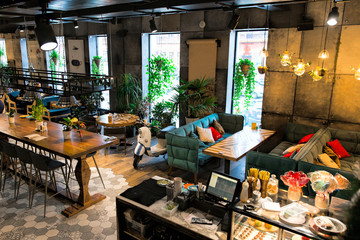 Fototapeta Interior of a modern loft style restaurant obraz