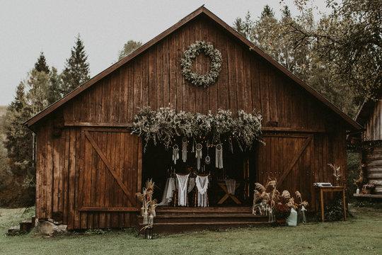 a wedding in a wooden barn