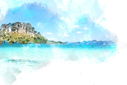 Abstract Colorful mountain peak and soft wave sea water on watercolor illustration painting background.................
