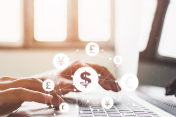 Close up image hand using laptop with online transaction application, Concept financial technology (fintech) and ICO Initial coin offering business financial internet innovation technology