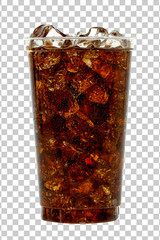 Stores photo Alcool Cola in takeaway plastic cup or glass with straw and ice cubes isolated on checkered background. Including clipping path.