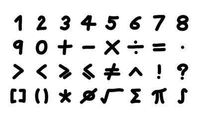 Black color handwriting of number and mathematics symbol on white background
