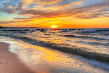 Beautiful beach of the Baltic Sea at sunset in Gdansk, Poland