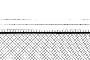 Metal fence with barbed wire isolated on a white background