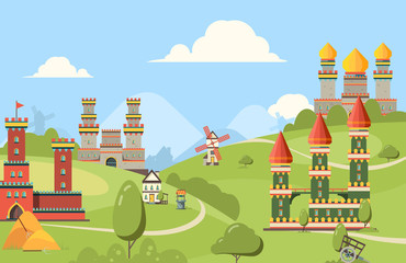 Medieval buildings. Horizontal background of kingdom castles buildings from bricks and wood old street with towers vector. Castle cartoon, house building stone illustration