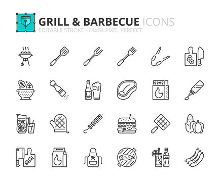 Simple set of outline icons about food and drink. Grill and barbecue