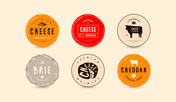Set of template labels for cheese
