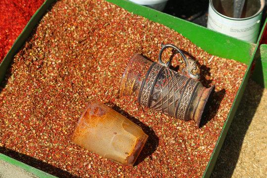 bright spices in the bazaar Dushanbe, Tajikistan