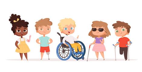 Disability kids. Children in wheelchair unhealthy people handicapped vector people. Disability child, kid handicap cartoon illustration Papier Peint