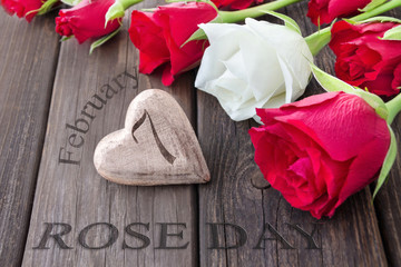 Rose Day February 7 and wooden heart