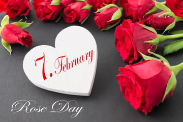 Rose Day and February 7 with heart