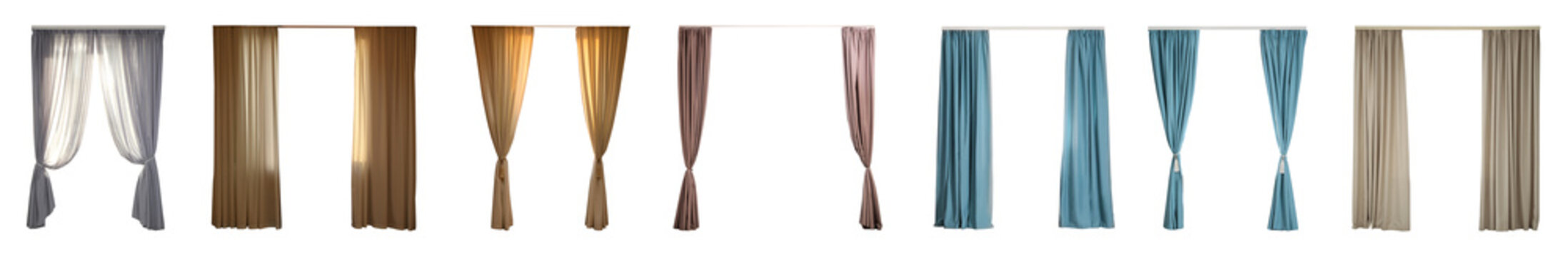 Set with different elegant curtains on white background. Banner design