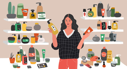 Cute young woman choosing natural cosmetics and eco products in store. Female shop assistant, cosmetic, skincare, makeup and beauty products buyer character. Cartoon vector