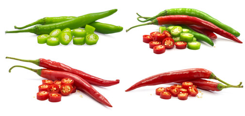 Canvas Prints Hot chili peppers Single object of Fresh chili peper isolated on white background