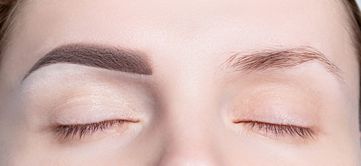 Female eyebrows before and after modeling, coloring, makeup