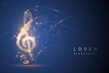 Gold light music note on blue background Fotobehang