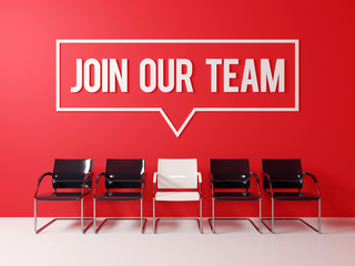 Join our team text word on red wall waiting room