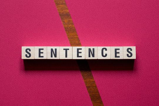 Sentences word concept on cubes