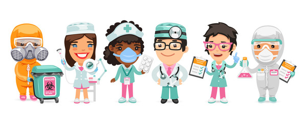 A group of cartoon doctor characters with different specializations stand on a white background. Biohazard cargo transporter, beautician, nurse, therapist and pharmacist. Flat style. Papier Peint