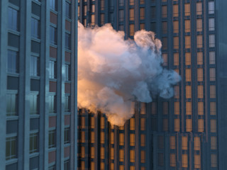 cloud between skyscrapers Fotomurales