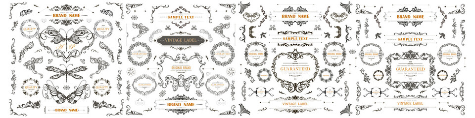 Set of Vintage Decorations Flourishes Elements.