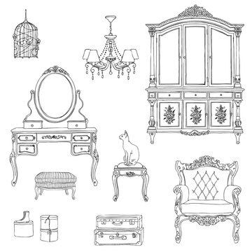Set of furniture and decorative elements for interiors in Provence style. Hand-drawn vector illustration