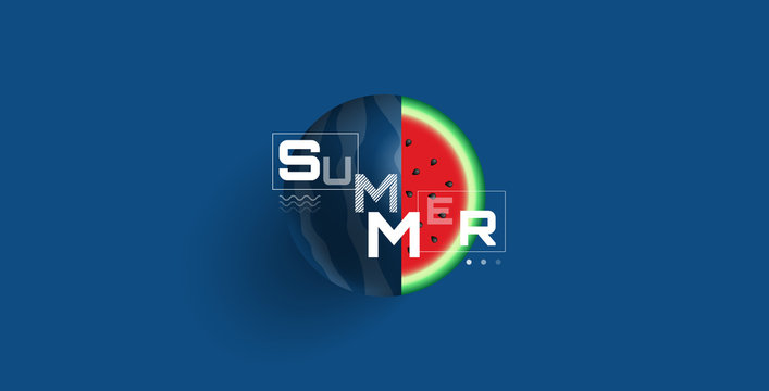 summer background classic blue color watermelon trendy style