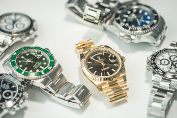 Grande Praire, Canada - July 17, 2017: Collection of Luxury Rolex watches on a display