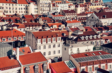 Top view of the city center of Lisbon, Portugal.