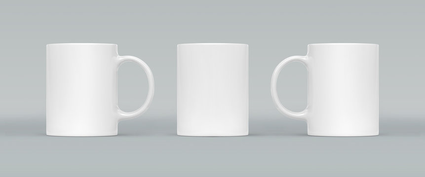 White coffee or tea cup on gray background. Blank mug mock up with different sides. Empty gift pint set branding template. Glassy restaurant tankard for your design.