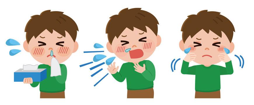 花粉 症状 男の子 くしゃみ 目のかゆみ 鼻水 イラスト